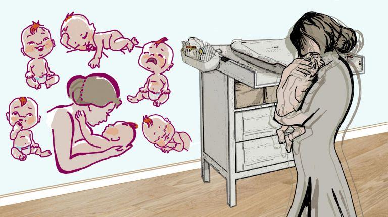 Eine Mutter macht sich Sorgen, ob sie den Anforderungen des Kindes gewachsen ist.