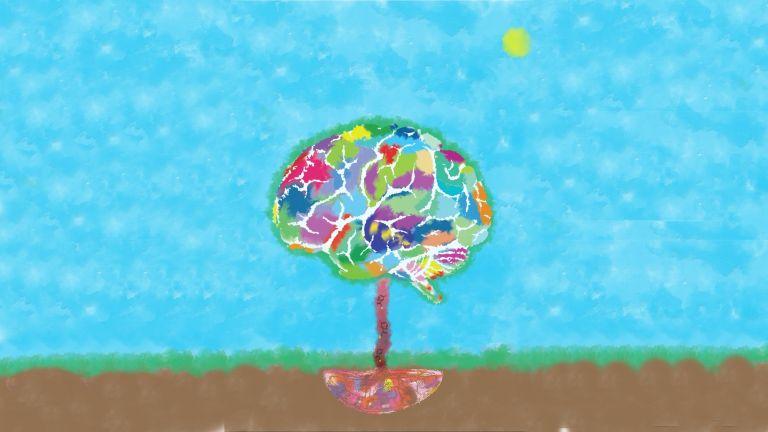 Das Bild zeigt die Plazenta im Boden, die den Gehirn-Baum mit Serotonin versorgt und dem Gehirn so beim Wachstum hilft